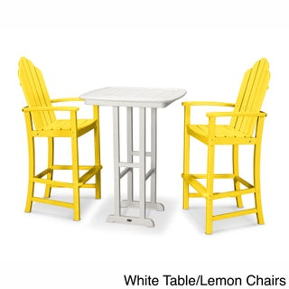 POLYWOOD Kahala 3-piece Outdoor Adirondack Chair Bar Set with Table
