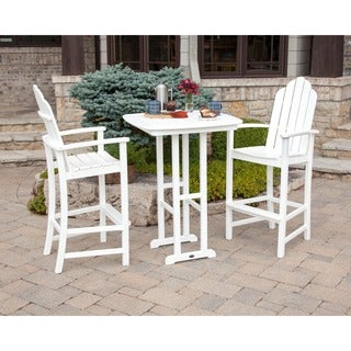 POLYWOOD Kahala 3-piece Outdoor Adirondack Chair Bar Set with Table