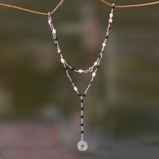 Handmade Silver 'Pis Bolong' Multi-gemstone Necklace (5 mm) (Indonesia)