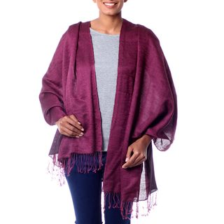 Handcrafted Silk Wool Blend 'Burgundy Magic' Shawl (India)
