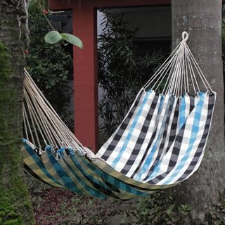 Handcrafted Cotton 'Beach Chess' Fabric Hammock (Single) (Brazil)