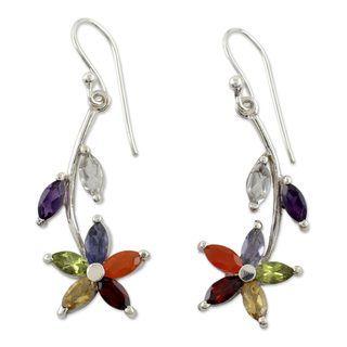 Handcrafted Sterling Silver 'Blossoming Energy' Multi-gemstone Chakra Earrings (India)