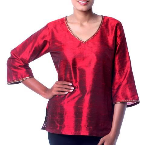 Handmade Dupioni Silk 'Grand Ruby' Embellished Tunic (India)