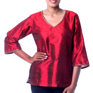 Handcrafted Dupioni Silk 'Grand Ruby' Embellished Tunic (India)