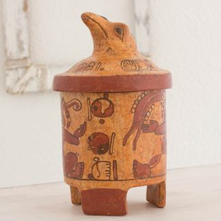 Handmade Ceramic 'Pibil Falcon' Maya Replica Decorative Vessel (El Salvador)