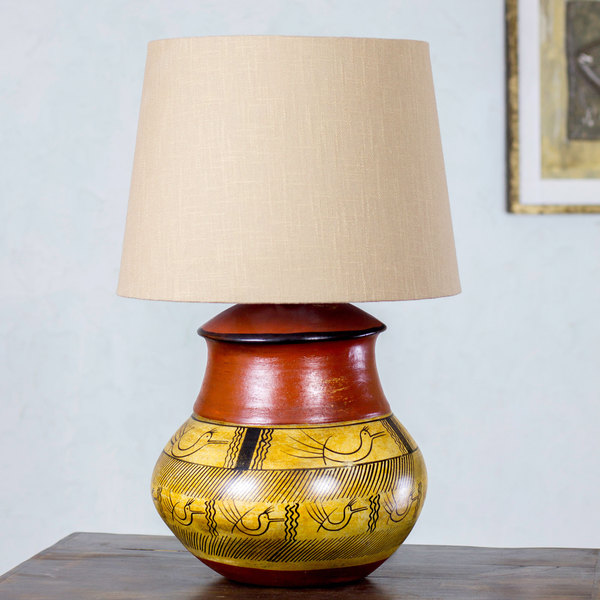 Handcrafted Ceramic 'Tarahumara Mystery' Table Lamp (Mexico)
