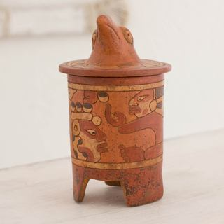 Handmade Ceramic 'Pibil Maya Falcon' Medium Size Decorative Vessel (El Salvador)
