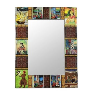 Handcrafted Decoupage 'Mughal Memories' Wall Mirror (India)