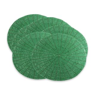 Set of 6 Handcrafted Beaded 'Shimmering Emerald' Placemats (Indonesia)
