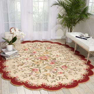 Nourison Country Heritage Ivory/Burgundy Area Rug (7'6 x 9'6 Oval)