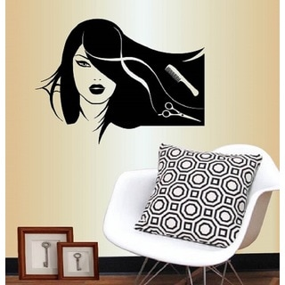 Vinyl Decal Girl Model With Long Hair Scissors Brush Beauty Salon Fashion Wall Sticker