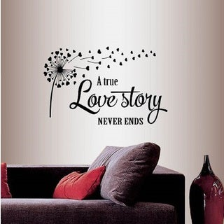 Vinyl Decal A True Love Story Never Ends Quote Phrase Love Family Hearts Dandelion Wall Sticker