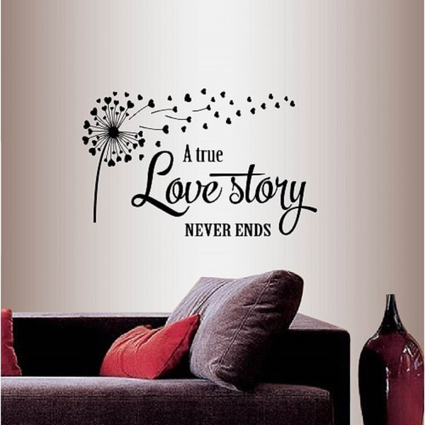 Shop Vinyl Decal A True Love Story Never Ends Quote Phrase Love Family Hearts -2698