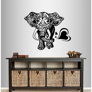 Vinyl Decal Indian Elephant Ethnic Floral Pattern Wall Sticker