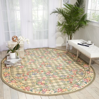 Nourison Country Heritage Green Area Rug (7'6 x 9'6 Oval)