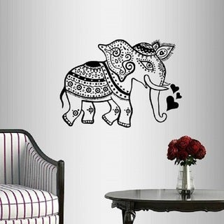 Vinyl Decal Unique Indian Elephant Ethnic Floral Pattern Wall Sticker