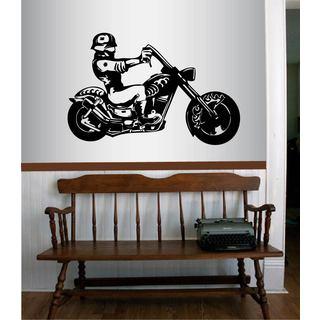 Vinyl Decal Riding on a Cruiser Biker Man Guy Extreme Wall Sticker