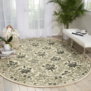 Nourison Country Heritage Ivory/Green Area Rug (7'6 x 9'6 Oval)