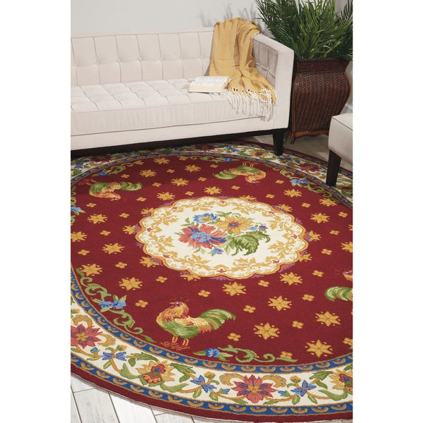 """Nourison Country Heritage Red Area Rug (7'6 x 9'6 Oval) - 7'6"""" x 9'6"""""""