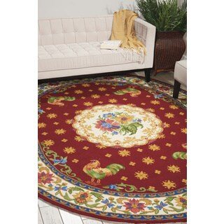 Nourison Country Heritage Red Area Rug (7'6 x 9'6 Oval)