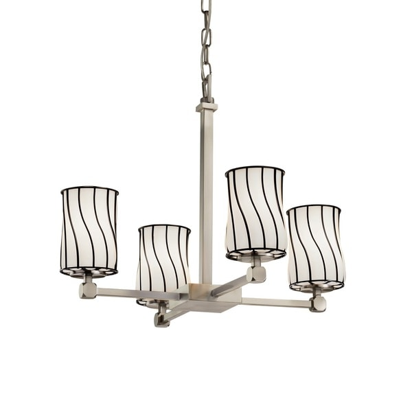 Justice Design Group Wire Glass Tetra 4-light Brushed Nickel Chandelier, Swirl with Opal Cylinder - Flat Rim Shade