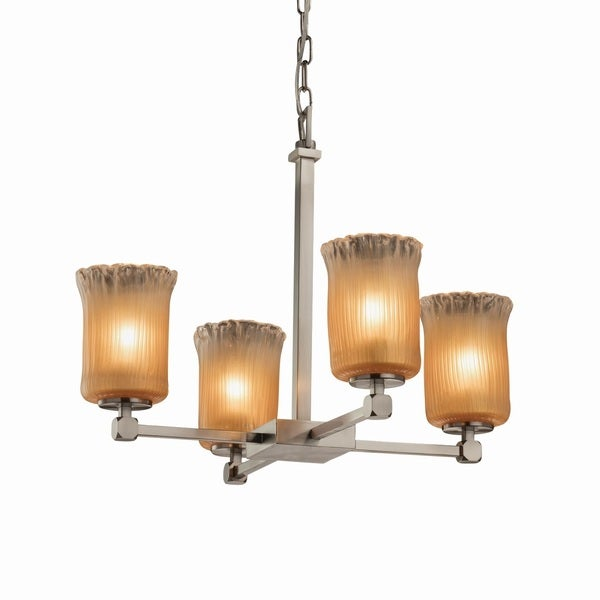 Justice Design Group Veneto Luce Tetra 4-light Brushed Nickel Chandelier, Gold with Clear Rim Cylinder - Rippled Rim Shade