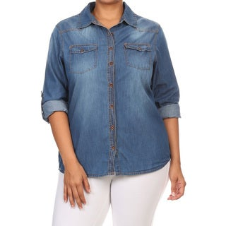 Women's Blue Cotton Denim Plus-size Button-up Top
