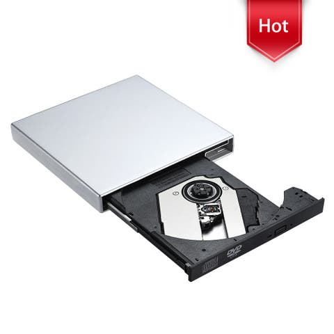 Silver USB External CD-RW Burner DVD/CD Reader Player with USB Cables for Windows, Mac OS Laptop Computer