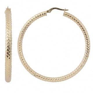 Fremada Italian 14k Yellow Gold 3x40-mm Diamond-cut Round Hoop Earrings