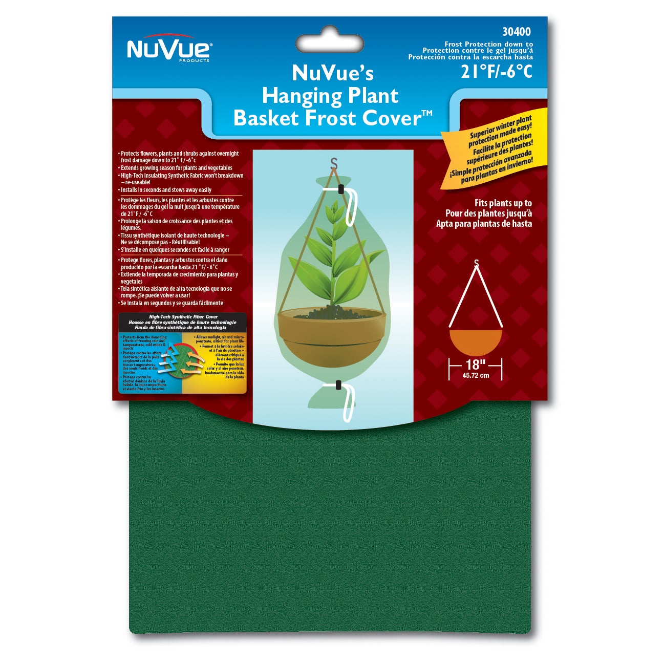NuVue 30400 28 inches x 40-inches Hanging Flower Basket F...