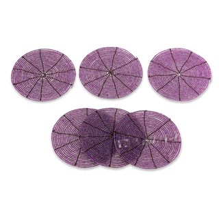 Set of 6 Beaded 'Shimmering Lilac' Coasters (Indonesia)