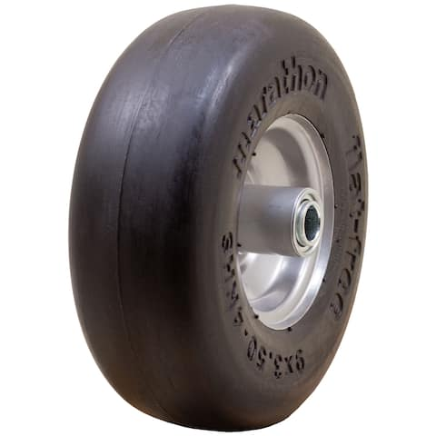 Marathon Industries 01014 9 X 3.50-4 Inches Smooth Tread Flat Free Lawn Mower Tire
