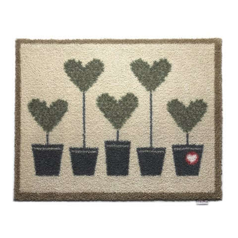 """Hug Rug Eco-Friendly Dirt Trapper Potted Hearts Washable Accent Rug (2'1.5 x 2'9.5) - 2' x 2'9"""""""