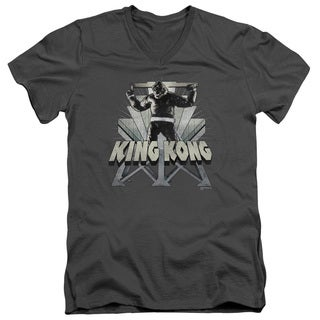 King Kong/8Th Wonder Short Sleeve Adult T-Shirt V-Neck in Charcoal