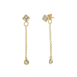 Eternally Haute 14k Gold-plated Solid Sterling Silver Bezel Drop Stud Earrings