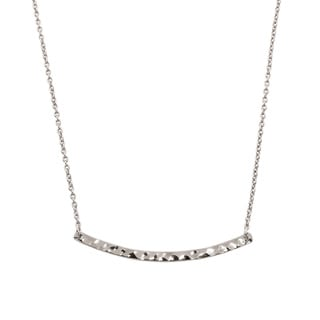 Eternally Haute White Brass Hammered Sideways Bar Necklace