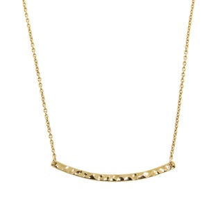 Eternally Haute 14k Goldplated Hammered Sideways Bar Necklace