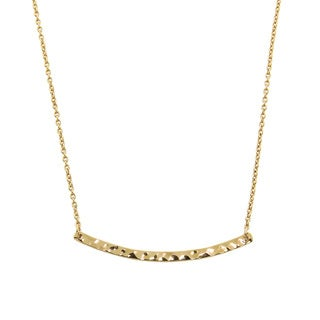 Eternally Haute Goldplated Hammered Sideways Bar Necklace