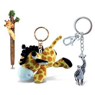 Giraffe Planet Pen, Plush Keychain, and Sparkling Charm (Set of 3)