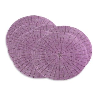 Set of 6 Handcrafted Beaded 'Shimmering Lilac' Placemats (Indonesia)