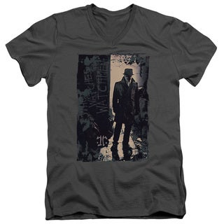 Watchmen/Light Short Sleeve Adult T-Shirt V-Neck in Charcoal
