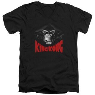 King Kong/Kong Face Short Sleeve Adult T-Shirt V-Neck in Black
