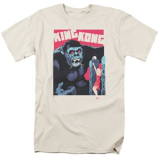 King Kong/Bright Poster Short Sleeve Adult T-Shirt 18/1 in Cream
