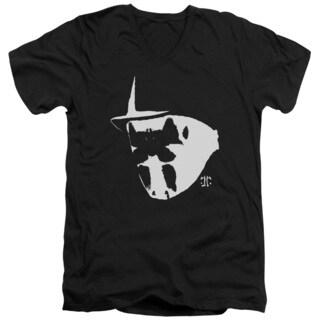 Watchmen/Mask and Symbol Short Sleeve Adult T-Shirt V-Neck in Black
