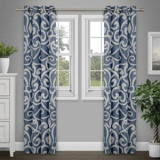 Journee Home 'Brenna' Damask Print 84 inch Grommet Top Curtain Panel