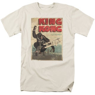 King Kong/Old Worn Poster Short Sleeve Adult T-Shirt 18/1 in Cream