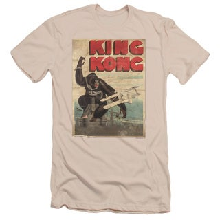 King Kong/Old Worn Poster Short Sleeve Adult T-Shirt 30/1 in Cream
