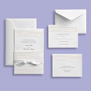 Brides White Waves Embossed Invitation Kit (30 count)