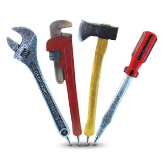 Puzzled Inc. Planet Pen Resin Pipe Wrench, Adjustable Wrench, Axe, and Screwdriver Pen Collection