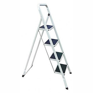 YBM Home Lightweight White Folding 4-Step Ladder